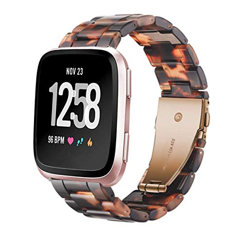 Ayeger Band Replacement for Fitbit Versa Smart Watch/Special/Lite Edition, Fashion Resin Wristbands Women Men Replacement Bracelet Metal Stainless Steel Rose Gold Buckle (Tortoise-Tone)