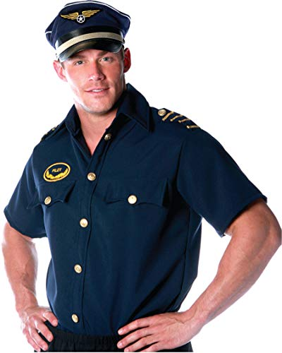 Underwraps Costumes Men's Pilot Costume - Shirt -Plus, Navy, XX-Large -