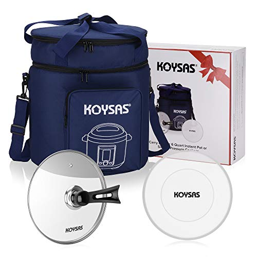 KOYSAS Travel Tote Carrying Bag for Your 6Qt Instant Pot and Similar Pressure Cookers 6 Quart - Includes Tempered Glass Lid and Silicone Storage Lid Accessories for Traveling - Gift Quality Packaging