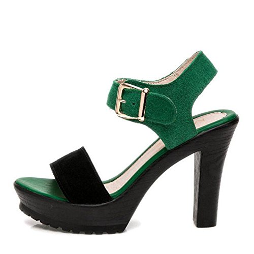 Sandals High Table Waterproof L Thick Girls Leather YC Matte Shoes Black 35 green Thick Women Summer With Bntpzqw