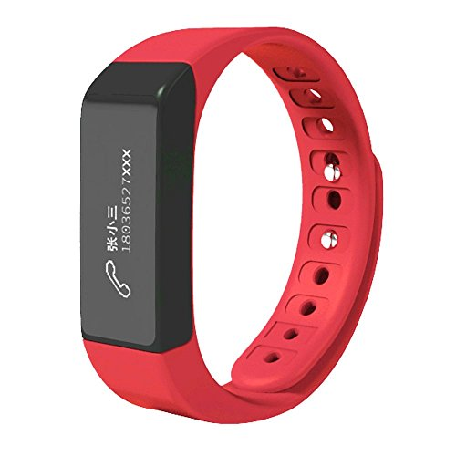 Fitness Smart Bracelet, Joso I5 Plus Bluetooth Wristband with Steps Distance /Calorie/ Sleep Record/ Remote Control Support APP Data Sync for IOS 7.0 Android 4.3 Above for Healthy Life-Red