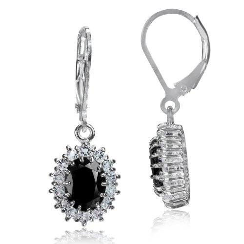 3.76ct. Natural Black Sapphire & White Topaz 925 Sterling Silver Leverback Earrings