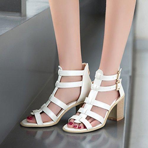 YOUJIA Zip Shoes Gladiator Toe Roman Heel Peep White Block Sandals Women Buckle rwq5vBr