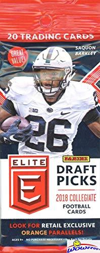 2018 Panini Elite Draft Picks NFL Football EXCLUSIVE HUGE Factory Sealed Jumbo Fat PACK!Look for Rookies & Autographs of Baker Mayfield, Saquon Barkley, Sam Darnold, Josh Rosen & Many More! WOWZZER