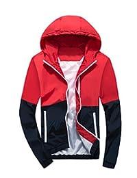 Amcupider Men's Contrast Zip Front-Zip Jacket