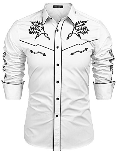 COOFANDY Men's Western Shirts Embroidered Long Sleeve Cowboy Shirts Casual Button Down Shirt White -