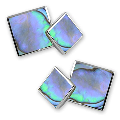 cufflinks Box shell silver Money Sterling sided Bond square small Clip Set oyster James double SZq7w