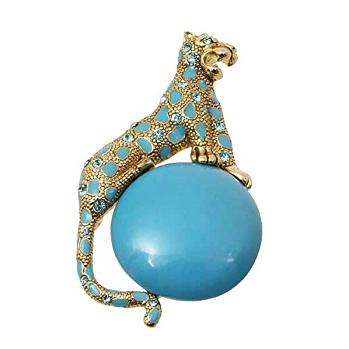 'Spotted Mythical Panther' Simulated Blue Turquoise Pin Brooch, 1.5