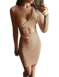 Womens Sexy Long Sleeve Cut-Out Bandage Bodycon Clubwear...