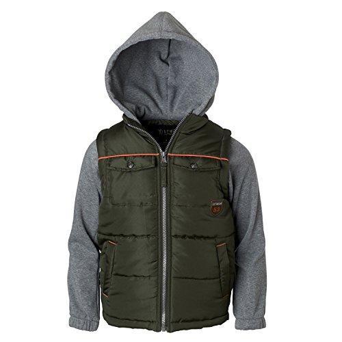Big Hood - iXtreme Big Boys Puffer Vest with Fleece Hood & Sleeves and Patch Pockets