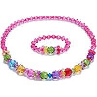 Baby Toddler Girls Necklace Bracelet Set Colorful Bling Kids Stretch Ring Jewelry Set