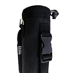 Kisa Water Holder Carrier Hydro Flask / Swell Type Bottles. Shoulder Hand Strap Pocket Pouch Carrying Handle Sling Neoprene Inner Canvas Outer.3 Sizes Hiking Travel Gym 16oz 17oz 20oz 24oz 32oz 40oz M