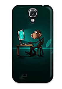 Hot Snap-on Smart Monkey Computer Pc Green Brown Animal Other Hard Cover Case/ Protective Case For Galaxy S4