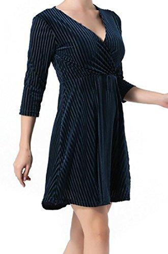 Gold Dress Women Short 3 Coolred Party 1 Neck 4 Sleeve Striped V Velvet HPxnqw8