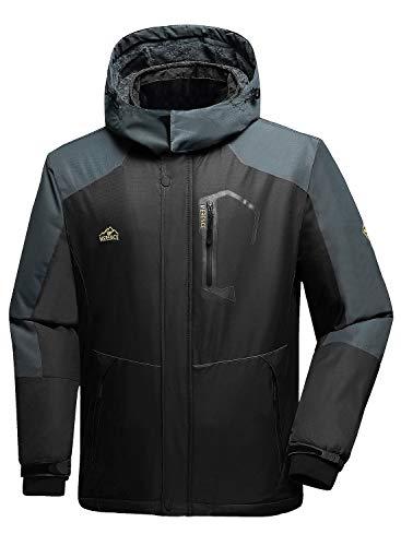 Men's Mountain Waterproof Ski Jacket Windproof Rain Jacket U419WCFY028,Gray,L