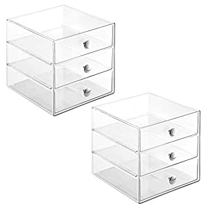 InterDesign 3-Drawer Storage Organizer for Cosmetics, Makeup, Beauty Products or Kitchen/Office Supplies, Clear, Set of 2