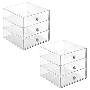 InterDesign 2 Drawer Storage Organizer for Cosmetics, Makeup, Beauty Products and Office Supplies, 2 Pack, Clear
