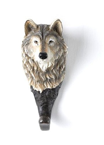 [Brown, White, and Black Lone Wolf Head Design Wall Coat Hanger] (Wolf Head Hat)