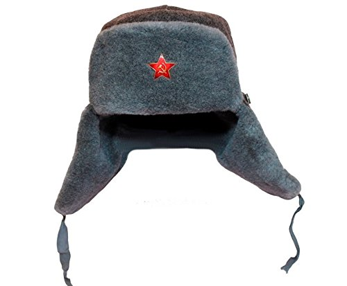 [EASTER GIFT IDEA!! Russian Soviet Army Fur Military Ushanka ear flaps Hat Grey Red Star size 3XL size 62 St. Patrick's Day] (Sheriff Hats For Sale)