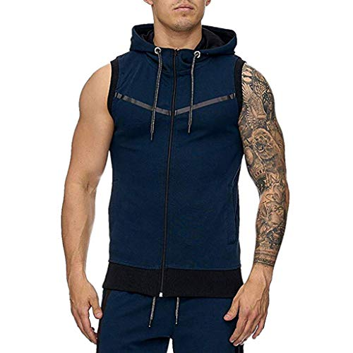 KINGOLDON Men's Stripe line Vest Jacket Lightweight Patchwork Sleeveless Contrast Hoodie Fitness t Shirt Dark Blue -