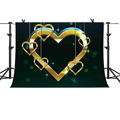 MME 10X7Ft Fantasy Black Backdrop Golden Heart Pendant Romantic Valentine's Day Theme Party Sweet 16 Party Photography Props Vinyl Photography Video Backdrop ZYME094 ()