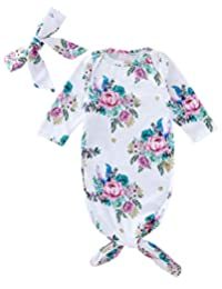 DPSKY Newborn Baby Girl Floral Sleepwear Nightgown & Headband 2pcs Set Knotted Baby Gown Coming Home Gift