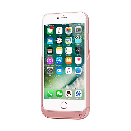(2017 Model) NuCharger 8000mAh Slim External Battery Case For IPhone 7 (6 Plus Compatible) Power Pack Backup Power Bank. Free Ring Holder and Tempered Glass. Rose Gold