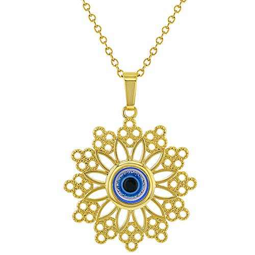 In Season Jewelry 18k Gold Plated Blue Greek Evil Eye Protection Nazar Medal Pendant - Name Necklace Greek