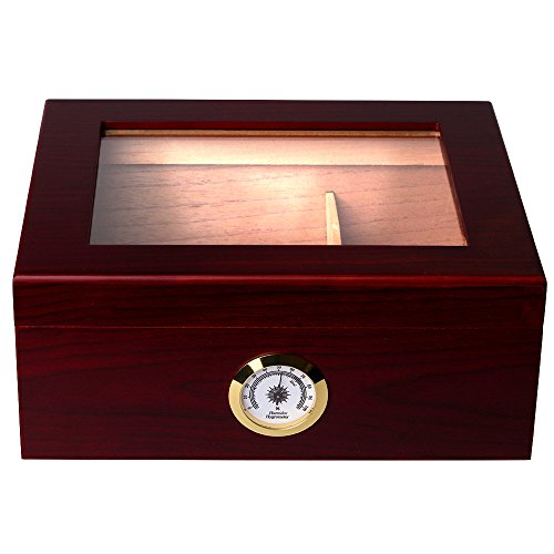 Mantello 25-50 Cigar Desktop Humidor Humidifier Royale Glasstop