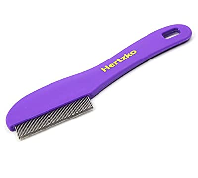 Flea Comb with Double Row of Teeth By Hertzko - Double Row of Closely Spaced Metal Pins Removes Fleas, Flea Eggs, and Debris from Your Pet's Coat - Suitable For Dogs And Cats by Hertzko
