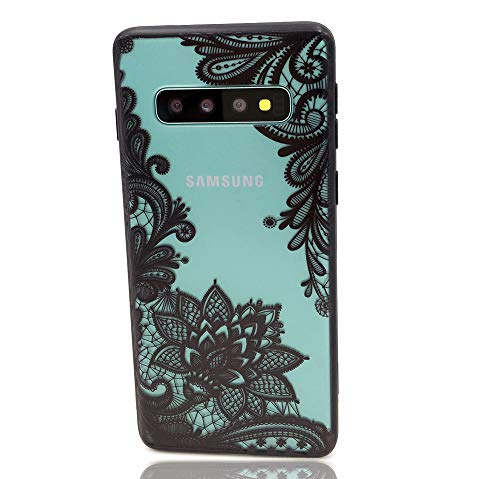 HUIYCUU Case Compatible with Galaxy S10 Case,Flower Pattern Slim Fit Shockproof Soft Bumper Border Matte Hard Back Cover for Girls Women Floral Design for Samsung Galaxy S10,Black Mandala