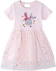 Little Girls Dresses Short Sleeve Cotton Stripe Cartoon Cute Animals Pattern Dress Kids Girls T-Shirt 2-7 Year