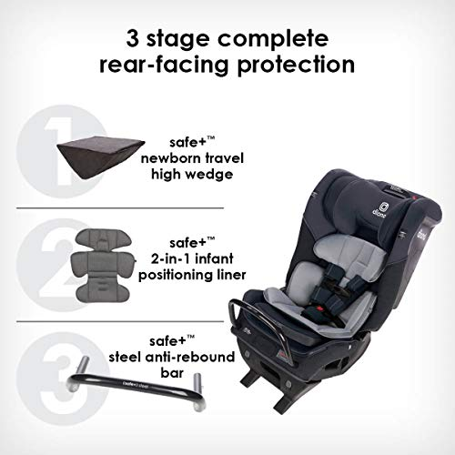 41sFh WqiqL - Diono Radian 3QX 4-in-1 Rear & Forward Facing Convertible Car Seat | Safe+ Engineering 3 Stage Infant Protection, 10 Years 1 Car Seat, Ultimate Protection | Slim Design - Fits 3 Across, Jet Black
