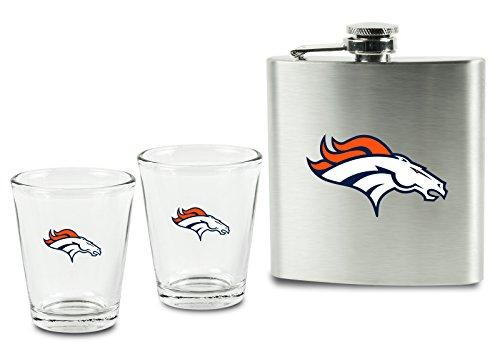 NFL Denver Broncos Shot Glasses &  Brushed Stainless Steel Flask Set