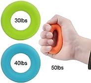 3 Pack Hand Grip Strengthener Rings, Wisdompro Strength Trainer for Finger, Forearm Exercise, Rock Climbing Gr
