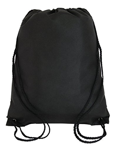 Pack of 12 Budget Friendly Well Made Non Woven Drawstring Bags 13.5'W x 15.5'H, Kids Drawstring Bags (BLACK)
