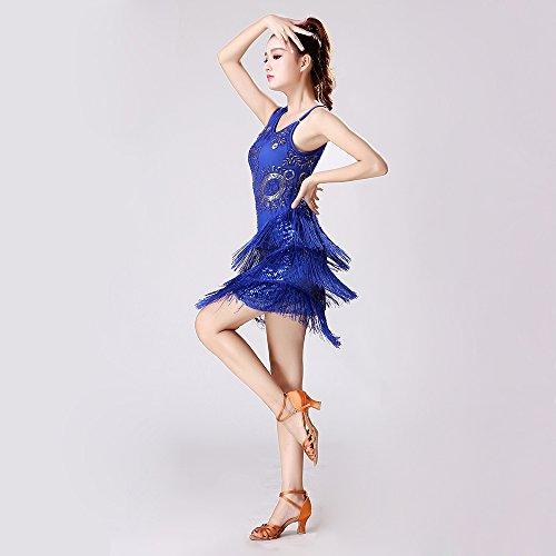 Performance Concorrenza Nappa Danza Costume Classico Donne Paillettes Frange Dance Latino Dress Ztxy Gonna Abito PZ7zF