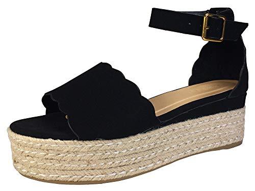 BAMBOO Women's Scallop Edged Single Band Espadrilles Platform Sandal with Ankle Strap, Black Nubuck PU, 5.5 B (M) ()