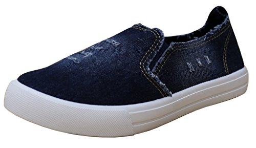 S-3 Sneaker Women's Slip-On Distressed Denim Round Toe Flatform Fashion Sneaker S-3 B077DWMPRZ Shoes 0a4a6d