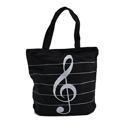 À Épaule Sac Impression Sacs Nuolux tout Toile Fourre Main Musique noir Mode Symboles Cadeau 0qwnf8Hv