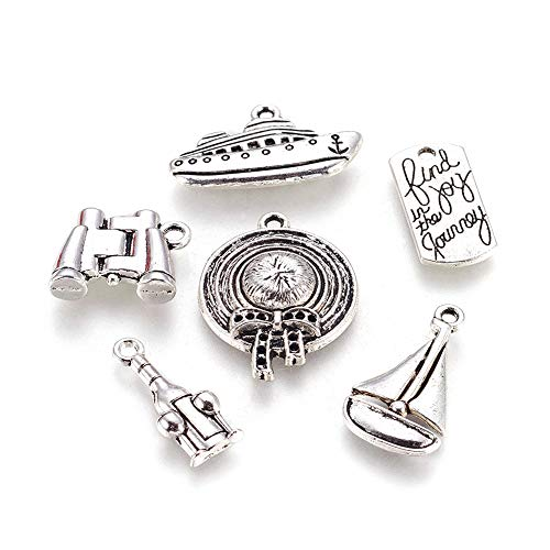 Kissitty 30Pcs Antique Silver Vacation Theme Charms Collection 13~26.5x8~25mm Tibetan 6 Styles Cadmium Free & Lead Free Metal Pendants with Hole for DIY Jewelry Craft Bracelet Making ()