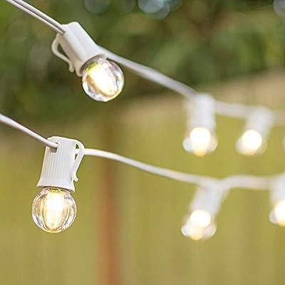 LED Globe String Lights, G30 Bulb, 25 Ft White C9 Strand, Warm White