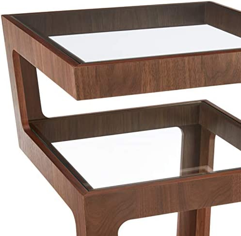 Amazon Brand - Rivet Geometric End/Side Table with 3 Glass Shelves, 43 x 43 x 55cm, MDF with Walnut Veneer/Tempered Glass