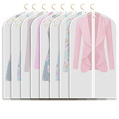 Garment Bags Storage - Refrze Moth Proof Garment Bags,Garment Cover,8 Pack Clear Garment Bags,Hanging Garment Bag, Dress Dance Garment Bags for Storage or for Travel,Breathable Dust and Waterproof Garment Protector Covers