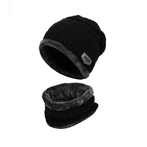 Goodbuy Warm Knitted Hat, Winter Beanie Hat Men with Circle Scarf for Ski