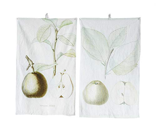 Vintage Reproduction Pear Mint Green 28 x 18 Cotton Fabric Tea Towels Set of 2