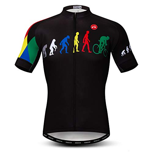 Cycling Jersey Men Short Sleeve Bike Shirt Breathable Bicycle Jacket Pockets Multicoloured Size L