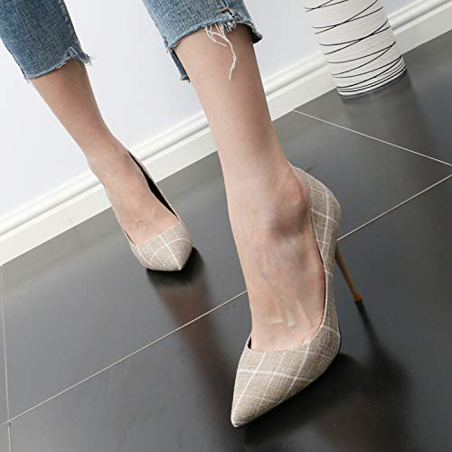 Sexy And Working Women'S Heel Pointy Head Summer Fashion 10Cm Shoes shoes Shallow High Commuter Coloring Shoes GTVERNH women's Camel Thin color q7aFOT