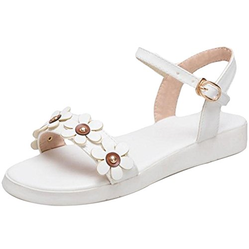 Coolcept Women Comfy Open Toe Sandal Buckle White