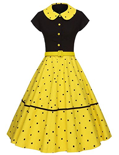 GownTown Women Splicing Swing Dress Party Picnic Cocktail Dress,Black&yellow,X-Large